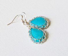 Items similar to Blue Round earrings Knitted silver blue earrings.Mother of pearl drop earrings on Etsy Silver Drop Earrings, Wire Earrings, Round Earrings, Bridal Earrings, Wire Jewelry, Earrings Handmade, Sterling Silver Earrings, Wedding Jewelry, Handmade Jewelry