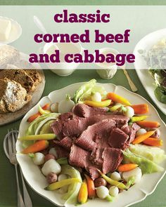 Brining the corned beef ahead of time gives you lots of flavor. Serve with an array of vegetables, including (of course) cabbage!