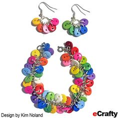 Rainbow Button Bracelet and Earrings