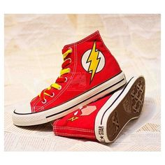 Items similar to Flash DC Comics Converse Chucks Custom Painted Shoes... ❤ liked on Polyvore featuring shoes
