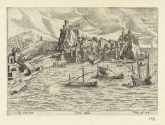 Gezicht op de haven van Corfu, anoniem, Philips Galle, 1585