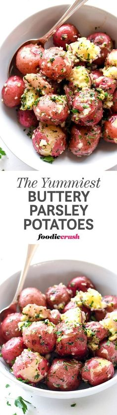 Boiled baby red potatoes get an infusion of butter and parsley to make this super simple side dish one of my all-time favorites for any meal   http://foodiecrush.com #potatoes #redpotatoes #sidedish