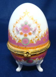 Porcelain egg shaped hinged purple red blue floral trinket jewelry colletctible porcelain egg box pink decorated trinket box negle Images
