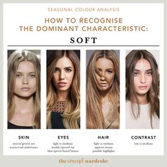 Dominant Characteristic: Soft the concept wardrobe Soft Autumn Color Palette, Soft Summer Palette, Soft Autumn Makeup, Summer Color Palettes, Neutral Skin Tone, Colors For Skin Tone, Fall Hair Colors, Summer Colors, Deep Winter Colors