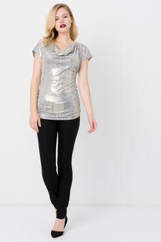 Suzy Shier Foil Tunic Top