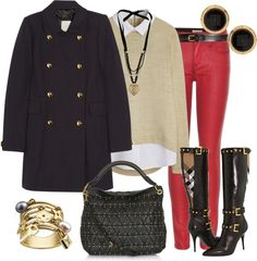 Outfits de Moda ...Me Tomo Cinco Minutos: DENIM DE COLORES Fall Winter Outfits, Winter Wear, Winter Fashion, Red Pants Outfit, I Fall To Pieces, Moda Chic, Elegant Chic, Fall Looks, Slytherin