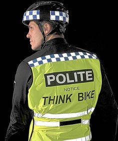 Cyclists are buying high-visibility shirts looking similar to police uniforms so motorists will give them more space. The luminous yellow bibs have blue/white reflective borders + are embossed w message: POLITE notice THINK BIKE. The makers admit the word POLITE looks similar to POLICE. The cyclist isn't breaking the law + isn't trying to impersonate an officer. Just a trick of the eye but it slows drivers down. One cyclist said it was like having a 'force field' around him.