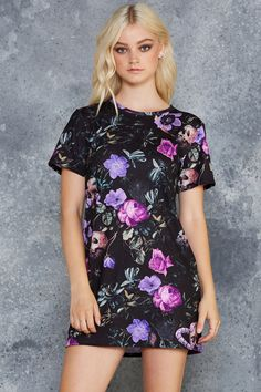 Garden Of The Dead Purple Tee Dress - 7 DAY UNLIMITED ($80AUD) by BlackMilk Clothing