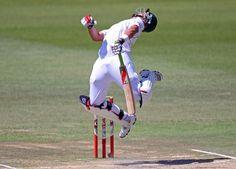 Jacques Kallis dodges a vicious bouncer from Sreesanth circa 2010 via ESPN Cricinfo