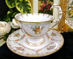 RARE DRESDEN THIEME BIRD HANDLE TEA CUP AND SAUCER HANDPAINTED FLORAL TEACUP  #DRESDEN