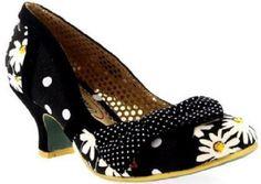 Shake It Black and White Daisy Heels - Pretty Heels - 1