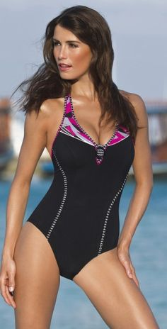 This Sunflair Shape Pink and Black one piece swimsuit offers Shapewear which is the new and modern direction of beach fashion. It provides gentle support for a woman's body. It has a special cut, shaping lining and is made of sensitive microfiber fabric w