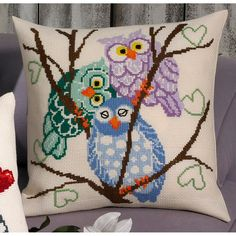 Owl Trio Cushion from Permin counted cross stitch kit. Cross Stitch Owl, Cross Stitch Pillow, Cross Stitch Animals, Counted Cross Stitch Kits, Cross Stitching, Cross Stitch Embroidery, Cross Stitch Patterns, Needlepoint Pillows, Owl Crafts