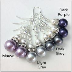 Pearl Bridal Earrings Swarovski Pearl Earrings Choose Your Pearl Color Bridesmaid Gift Hypoallergenic Wedding Jewelry Purple Grey Earrings. $12.99, via Etsy.