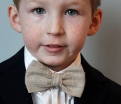 Boy's Bow Tie in Natural Linen - Perfect for his Easter outfit!