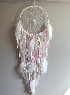 Boho Dream Catcher Decor Large Blush Pink Dreamcatcher