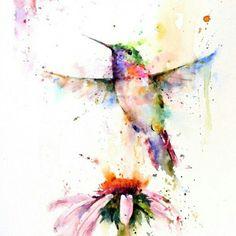 #акварель #рисунок #цветы #колибри #птица