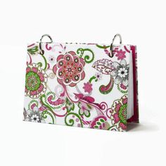 #Indexcard #binder, moire fleur #floral, pink and green, #recipe #card holder, #journal #diary, card holder with a set of index card dividers @artsbysunfire