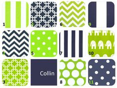 Swatches Lime Green Navy White Collin Fabric by leahashleyokc, $1.50