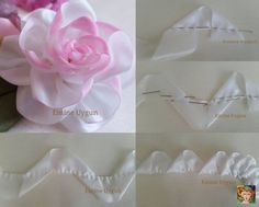 Wonderful Ribbon Embroidery Flowers by Hand Ideas. Enchanting Ribbon Embroidery Flowers by Hand Ideas. Satin Ribbon Flowers, Burlap Flowers, Ribbon Art, Diy Ribbon, Fabric Ribbon, Ribbon Crafts, Flower Crafts, Diy Flowers, Fabric Flowers