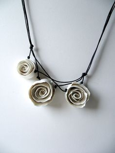 Necklace - Three White Porcelain Roses a Fresh Necklace from Italy - Limoges Porcelain. €28.00, via Etsy.