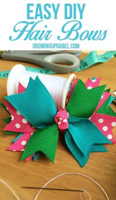 Stop spending money buying hair bows and make them instead! This easy craft tutorial is perfect for making hair bows for every outfit! Easy Hair Bows, Making Hair Bows, Easy Diy Hair Bows For Girls, Bows For Hair, Hair Ribbons, How To Make Bows, Girls Bows, Bows For Babies, How To Make Hairbows