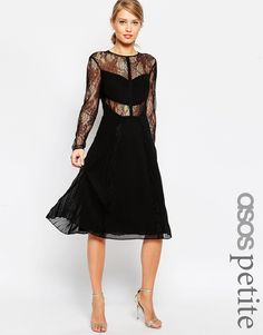 Image 1 ofASOS PETITE Midi Lace Skater Dress with Cut Outs