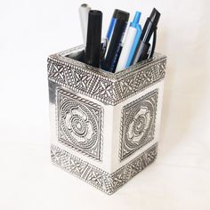 Square Pencil Holder Aluminium Crafted design Pen by SiyaDesigns, $13.99