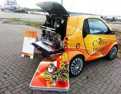 smart coffe car Source by Coffee Van, My Coffee Shop, Coffee Store, Mobile Restaurant, Mobile Cafe, Coffee Carts, Coffee Truck, Vegan Food Truck, Food Business Ideas
