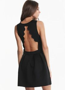 Darcy and Dolly - Black High Neck Scallop Back Skater Open Back Dress, £39.99 (http://www.darcyanddolly.com/black-high-neck-scallop-back-skater-dress/)