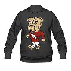 The OOKOO Women's Mississippi University Bulldogs Long Sleeve Hoodie Sweatshirt Thermal Elasticity And Comfort.