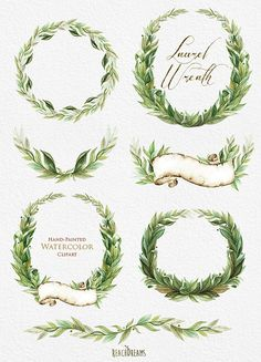 Laurel Wreath, Watercolor Hand Painted Clipart, Wedding Invitation, Green…