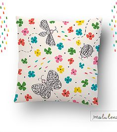 by MaluLenzi #kindredArtCollective #Pillow #spring #floral #pattern #butterfly #dragonfly #bug #illustration #cute