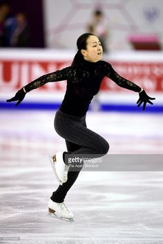 Mao Asada of Japan in action during a training session ahead of the ISU Junior & Senior Grand Prix of Figure Skating Final at the Barcelona International Convention Centre on December 9, 2015 in Barcelona, Spain.