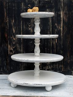 Wedding Decorations – 4 Four tiered wooden wedding white cupcake stand – a unique product by Bogarne on DaWanda