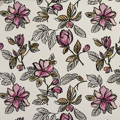 Black Gold and Pink Flower and Leaf Linen and Microfiber Upholstery Fabric