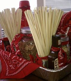 Grilling Themed Gift Basket with skewers; bandana; bbq sauce; use foil pan as base