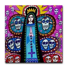 Mexican Tree of Life Art Tile - Day of the Dead Art Ceramic Coaster Tile - Virgin of Guadalupe Mexican Folk Art. $20.00, via Etsy.