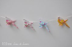 Great Origami Garland with japanese papers! Handmade by Lou et Leon! Origami Garland, Japanese Paper, Kids, Handmade, Art, Young Children, Art Background, Boys, Hand Made