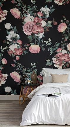 Create an extravagantly elegant space in your homewith our beautifulVintage Pink and Cream Dark Floral Wall Mural.This design features large, detailed illustrations of roses which are toned and saturated in colour for a vintage look. This wallpaper is perfect for anyone searching for a dark coloured feature mural and wants their room to exude classical floral charm.Match with traditional furniture and deep colours to complete the look.  #wallpaper #mural #wallmural #interiorandhome