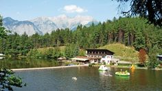 Natterer See, located near Innsbruck is an Alpine paradise for walking and cycling. The adjacent lake includes a 66 metre-long water slide and a water trampoline.