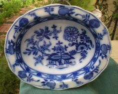 REDUCED Early Flow Blue Oval Bowl Blue Onion by 4HollyLaneAntiques, $65.00