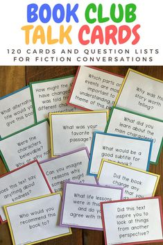 Questions for book clubs and literature discussions for students or adult book clubs. Book Club Parties, Kids Book Club, Book Club Books, Teen Book Club Ideas, Book Club Snacks, Book Club List, Reading Club, Reading Response, Teaching Reading