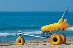 Beach/ocean wheelchair that don't cut down into the sand.  --   I would love one of these, this is so cool.