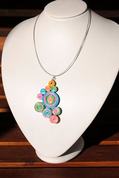 Colourful Paper Quilled Necklace Eco friendly by Fraaua on Etsy, €22.00
