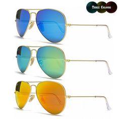 ad96ef3b63f New Ray Ban Aviator RB3025 58MM Gold   Blue Green or Orange Mirror  Sunglasses