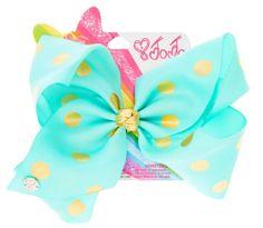 JoJo Siwa Large Mint & Gold Polka Dot Hair Bow