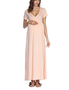 8be378ab0344b Maternity Styles - smart maternity maxi dress   VSNOW Womens CrossFront V  Neck Short Sleeve Empire