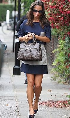 I want Pippa Middleton's Modalu Pippa bag in Oyster Croc!  Her navy & grey Zara dress is chic as well.