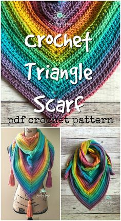 Knit & Crochet for Kids Easy beginner crochet triangle scarf pattern! Love this brightly coloured simple crochet pattern fo Mode Crochet, Knit Or Crochet, Crochet Scarves, Crochet For Kids, Crochet Geek, Crochet Crafts, Beginner Crochet Scarf, Easy Crochet Shawl, Crochet Kids Scarf
